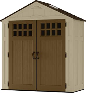 product image for Suncast 6' x 3' Vertical Shed Outdoor Storage for Backyard Tools and Accessories All-Weather Resin Material, Transom Windows and Shingle Style Roof, Wood Grain Texture