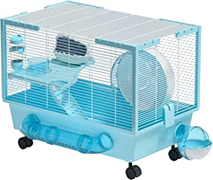 Rolife Hamster Cage Large Hamster Habitats Small Animal Cage for Syrian Hamster (Blue)