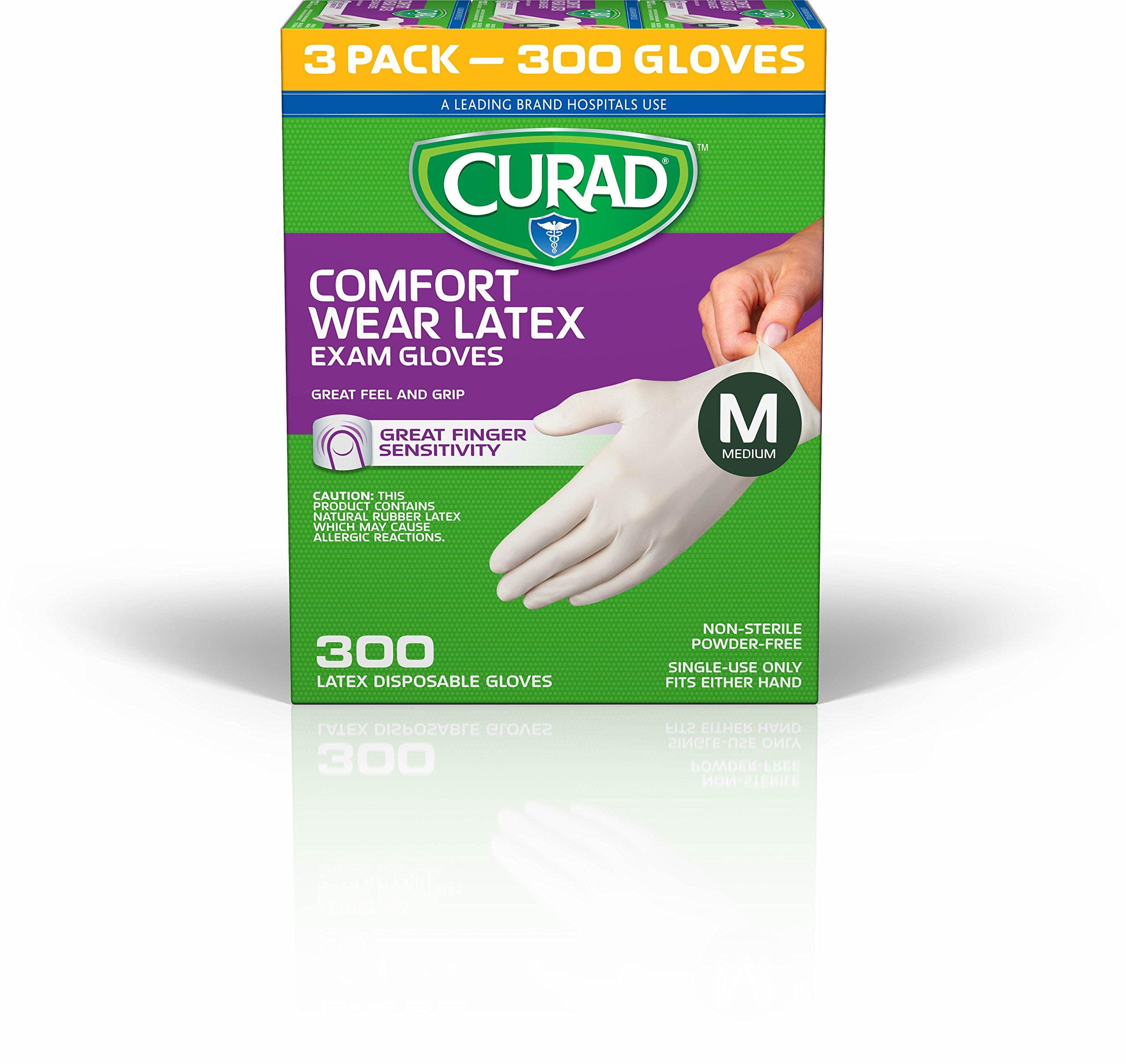 CURAD Comfort Wear Latex, Vinyl Exam Gloves, Medium (Pack of 300)
