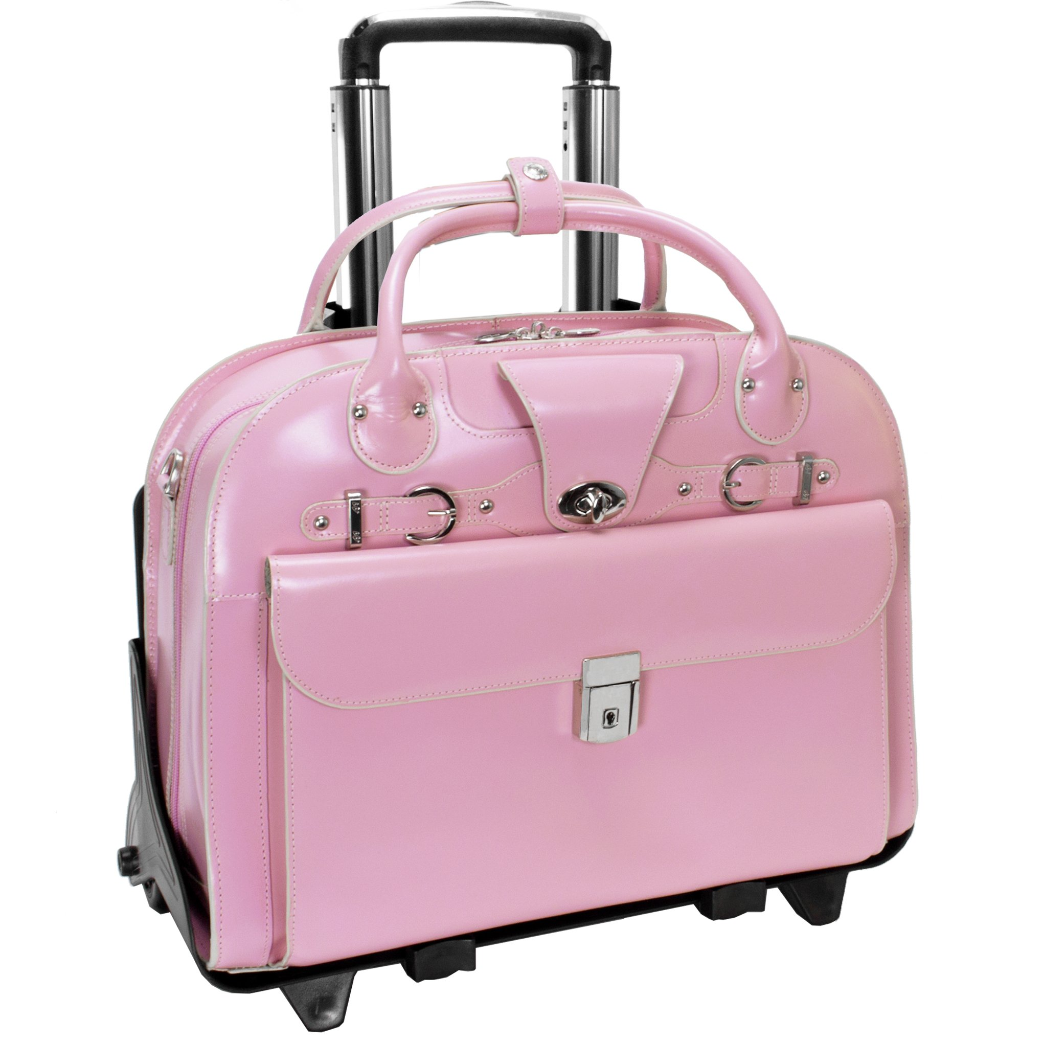 McKleinUSA ROSEVILLE 96649 Pink Leather Fly-Through Checkpoint-Friendly Detachable-Wheeled Ladies' Briefcase