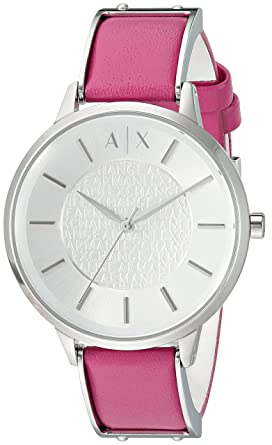 38f9fb5c Armani Exchange Women's Stainless Steel Analog-Quartz Watch with Leather  Calfskin Strap, Pink, 16 (Model: AX5322