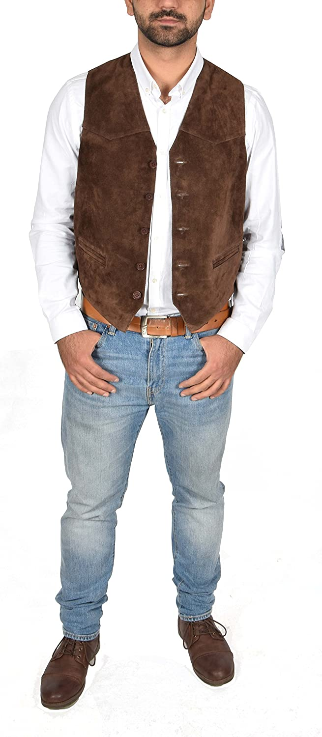 Cole Real Suede Waistcoat for Mens Classic Style Soft Brown Suede Leather Vest Gilet