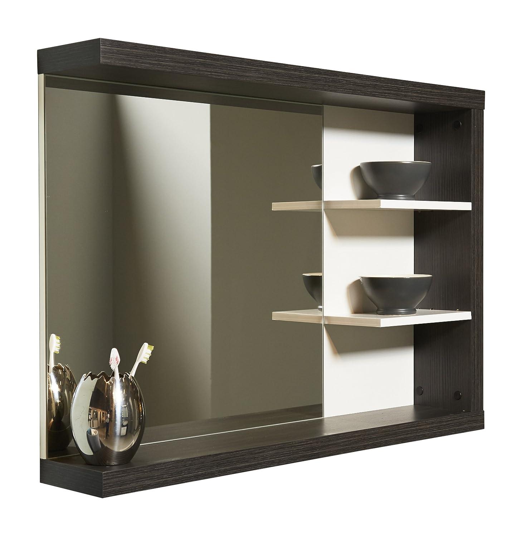 Maisonnerie 1425-403-03 Miroir Meuble Salle de Bain Blanc - Argent Cendré LxHxP 90x66x16 cm - mélaminé