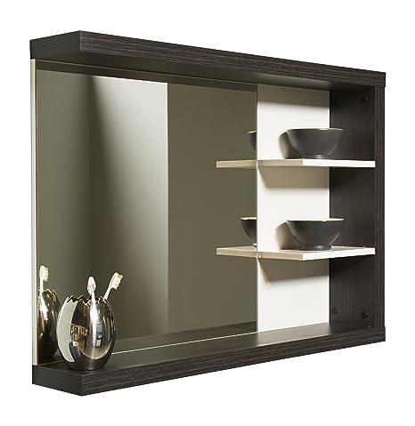 trendteam Cuarto de baño Espejo para pared, 90 x 66 x 16 cm, cuerpo en  plata oscura Sardegna, frente en blanco con repisa y dos baldas