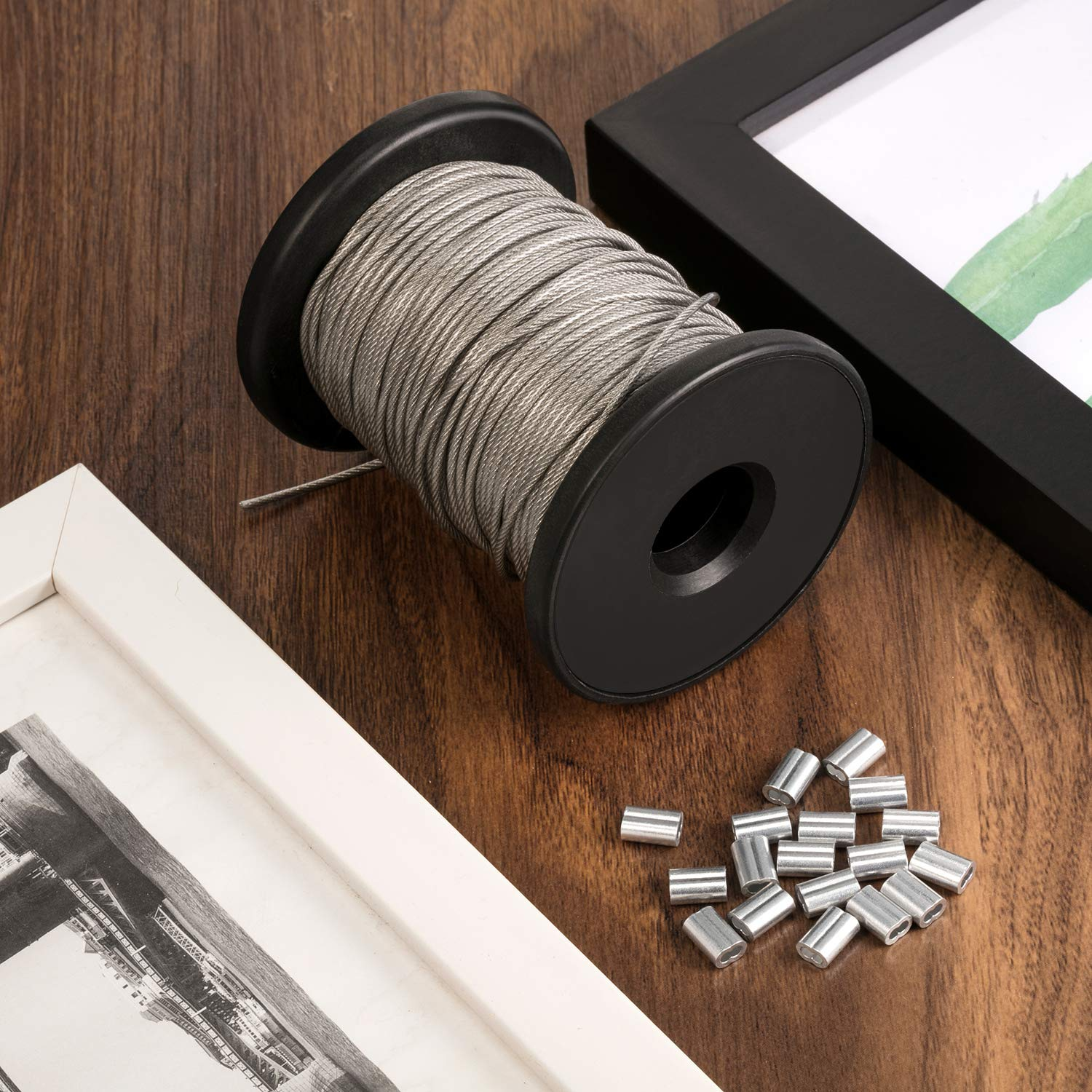Chengu Vinyl Coated Picture Frame Hanging Wire, Stainless Steel Wire Spool with 20 Pieces Aluminum Crimping Loop Sleeve, Supports up to 110 Lbs (1.5 mm x 98 Feet) by Chengu (Image #4)