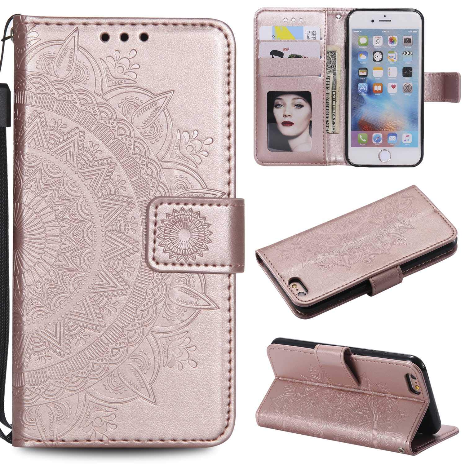 Case iPhone XR, Bear Village PU Leather Embossed Design Case with Card Holder and ID Slot, Wallet Flip Stand Cover for Apple iPhone XR (#1 Rose Gold) by Bear Village (Image #1)