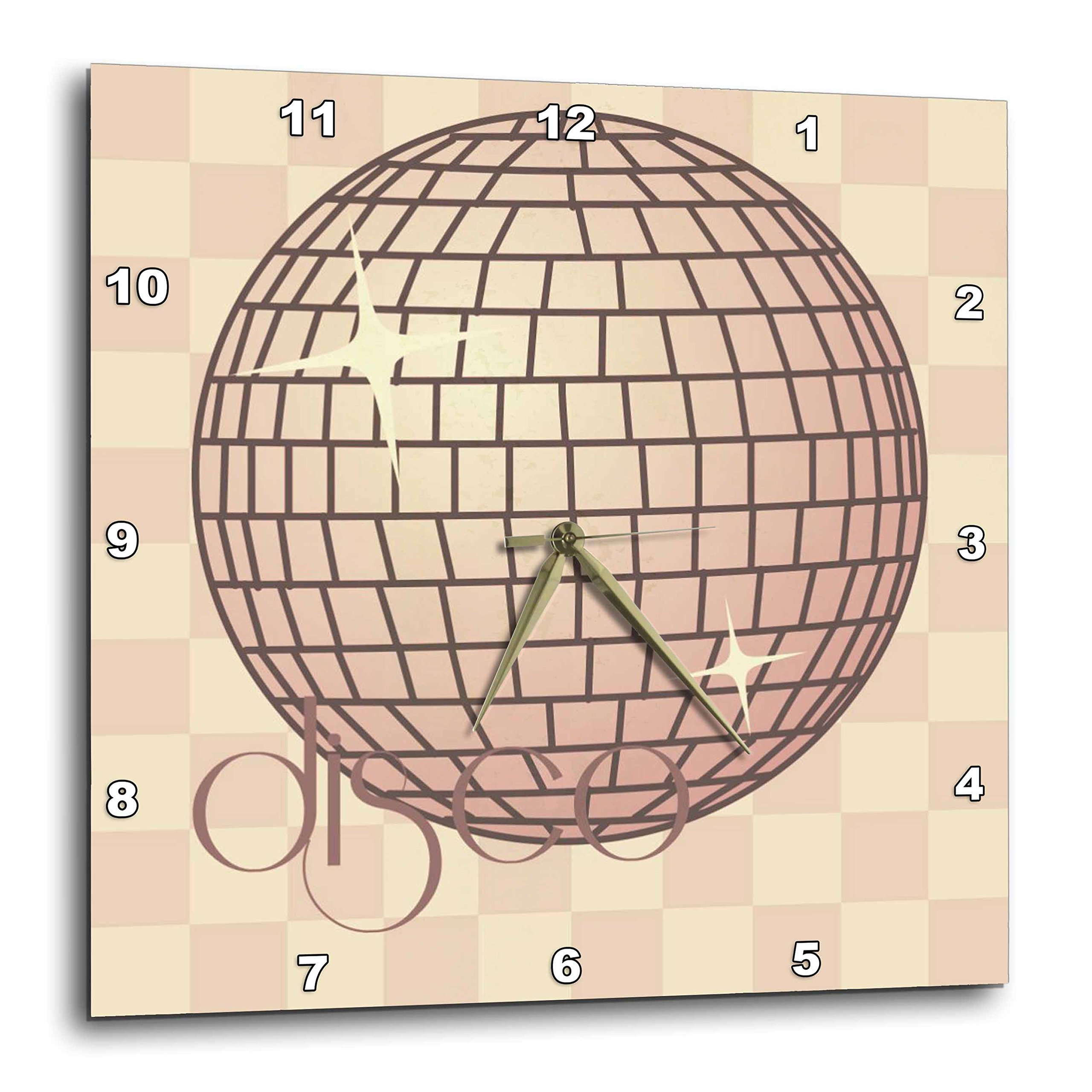 3dRose dpp_57216_1 Disco Ball Pink Checkered Funky Art Dance Music Wall Clock, 10 by 10-Inch