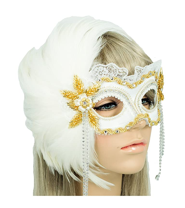 Masquerade Ball Clothing: Masks, Gowns, Tuxedos Handmade in the USA Masquerade Mask with Feathers White Gold $96.99 AT vintagedancer.com