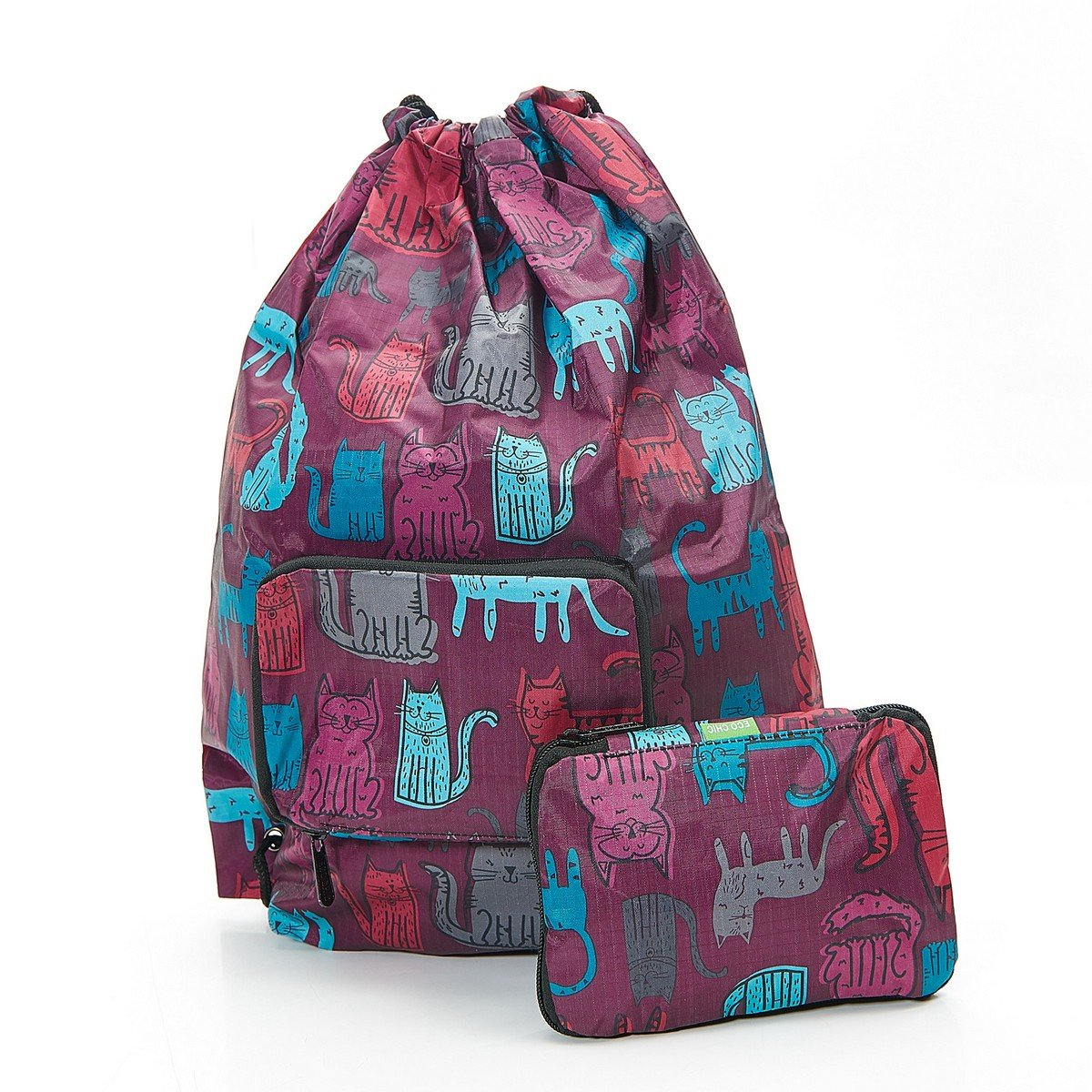 23e7df422a Eco Chic Children s Foldable Drawstring Bag - Funky Cats (Burgundy)   Amazon.co.uk  Sports   Outdoors