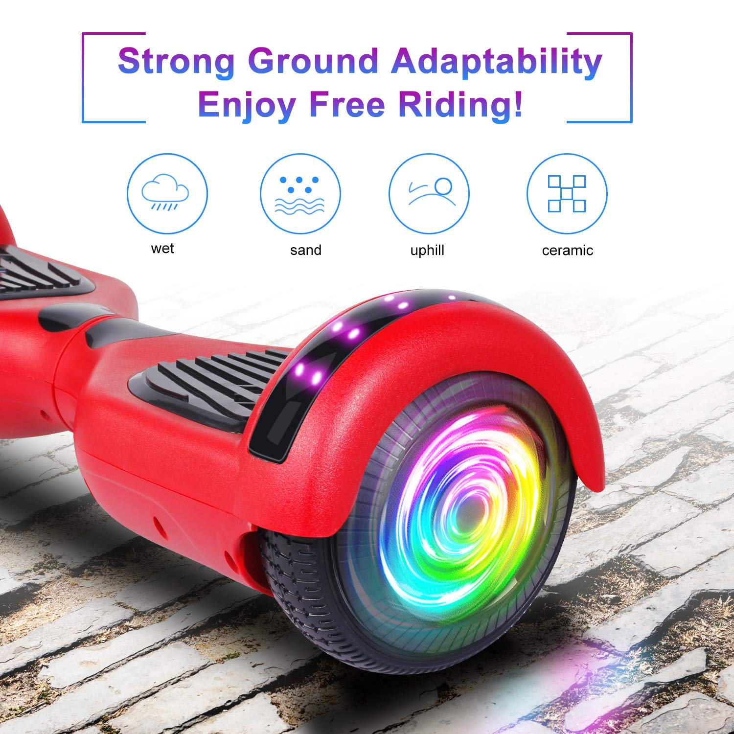 "SISIGAD Hoverboard 6.5"" Self Balancing Scooter with Colorful LED Wheels Lights Two-Wheels self Balancing Hoverboard Dual 300W Motors Hover Board UL2272 Certified(Free Carry Bag Available) by SISIGAD (Image #3)"