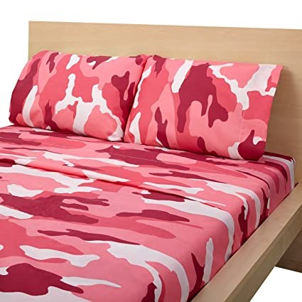 Clara Clark Camouflage Collection Pink / Bright Orange CAMO Printed 4 Piece  Bed Sheet Set Natural