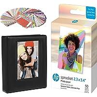 HP Sprocket 2.3 x 3.4 Premium Zink Sticky Back Photo Paper (50 Sheets) Starter Bundle