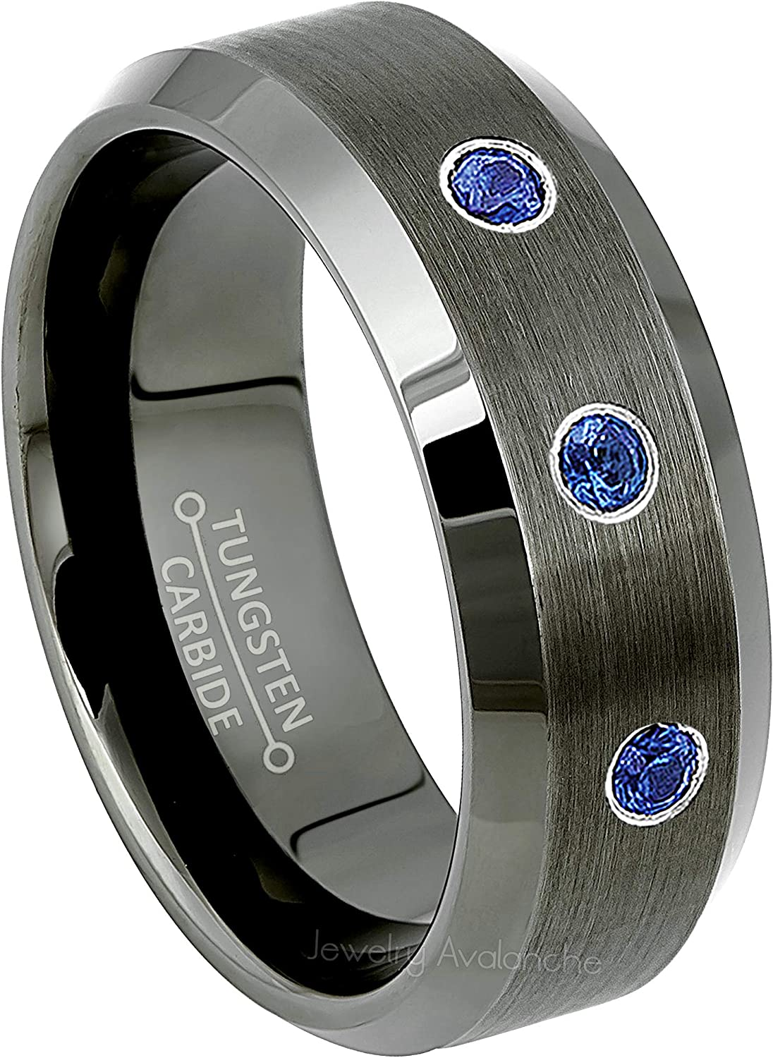 0.21ctw Tanzanite 3-Stone Tungsten Ring December Birthstone Ring Anniversary Ring Brushed Gunmetal Center 2-Tone Comfort Fit Mens Tungsten Carbide Wedding Band
