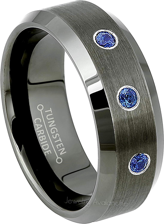 December Birthstone Ring 8mm Satin Finish Center Comfort Fit Classic Dome Titanium Wedding Ring 0.21ctw Tanzanite /& Diamond 3-Stone Anniversary Band