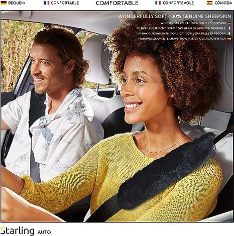 Starling Autos Weicher Schaffell Sicherheitsgurt Polster Auto