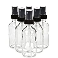 Vivaplex, 6, Clear, 2 oz Glass Bottles, with Black Fine Mist Sprayers