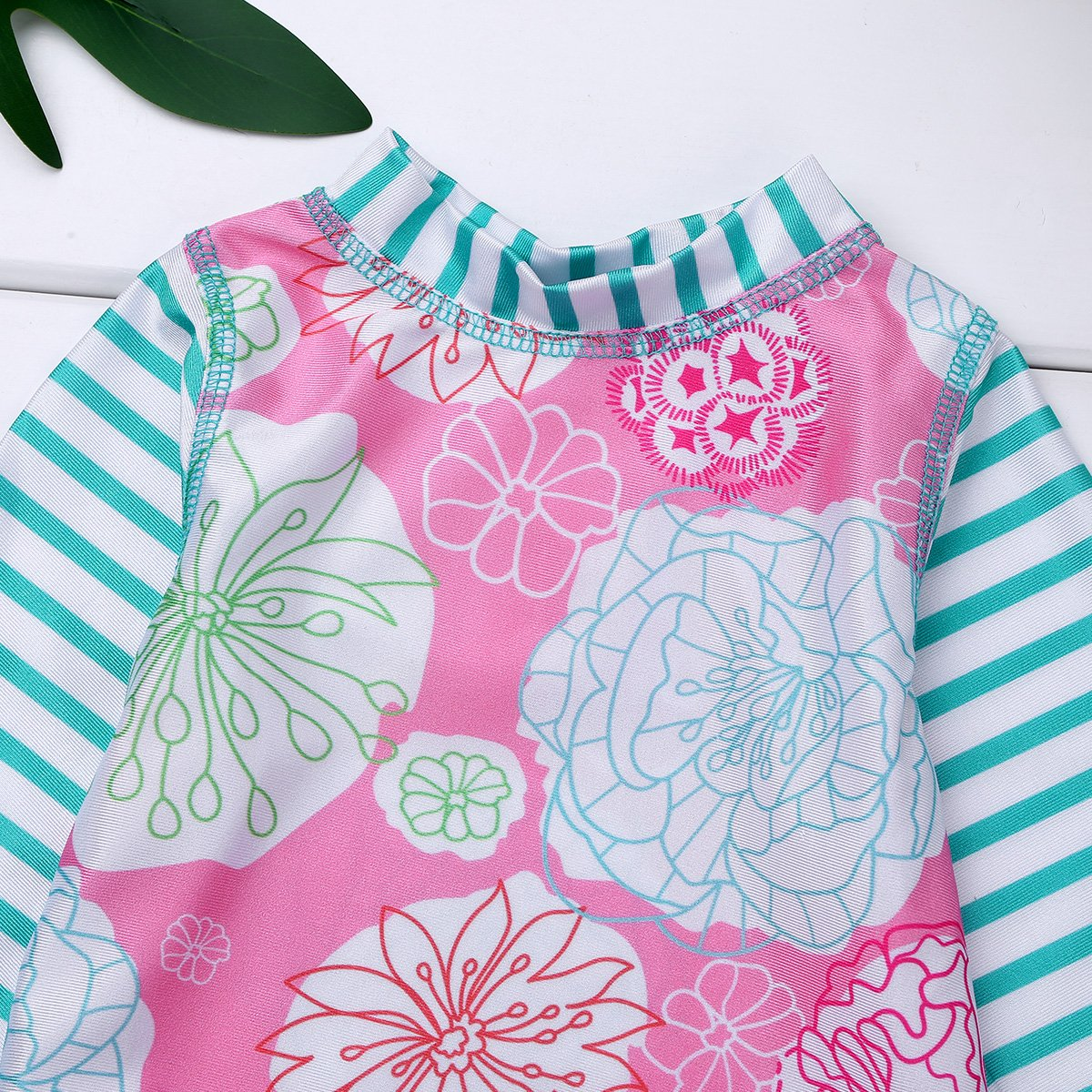 dPois Infant Baby Girls One-Piece Long Sleeves Floral Rash Guard Ruffles Swimsuit Swimwear with Back Zipper