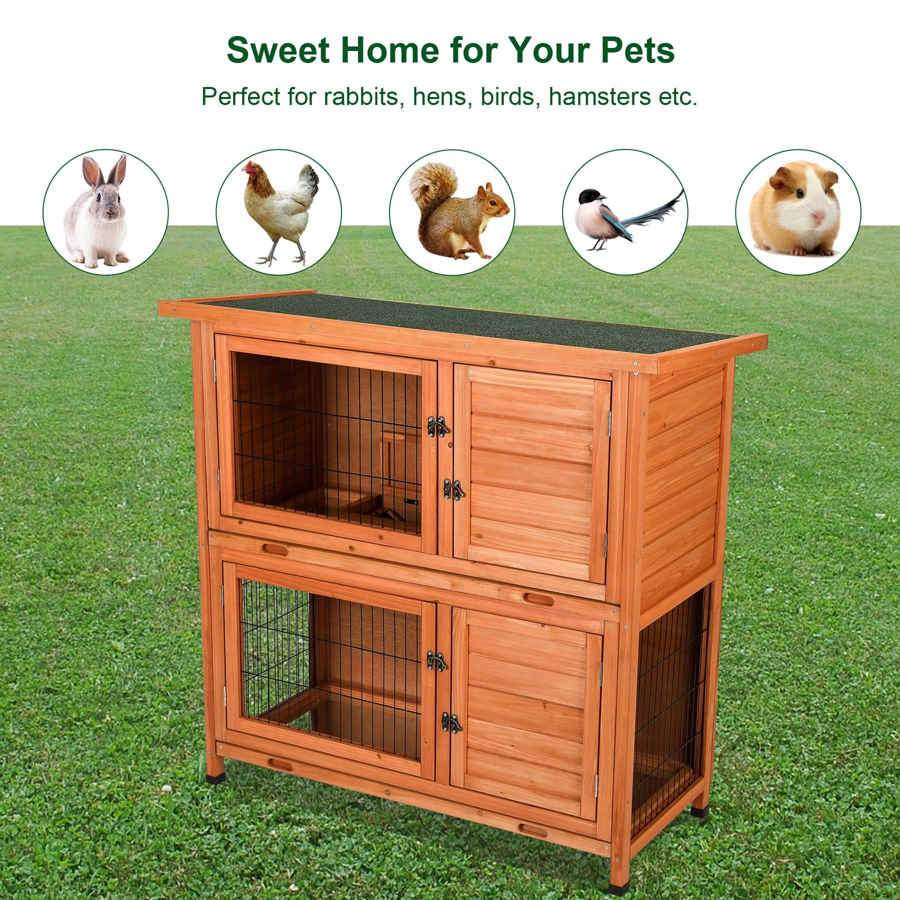 CO-Z 2 Story Outdoor Wooden Bunny Cage Rabbit Hutch Guinea Pig House in Nature Color with Ladder for Small Animals by CO-Z (Image #5)