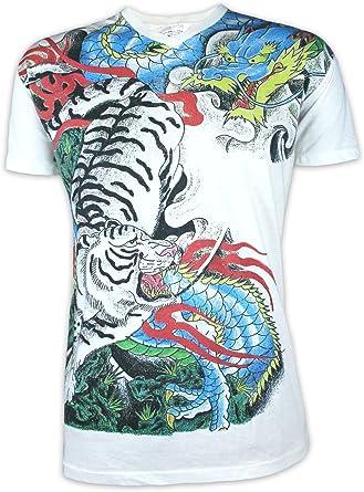 Ako Roshi Camiseta Hombre Tigre y Dragón Talla M L XL Japón Artes Marciales Tatuaje Irezumi Endriago Buda (L, Blanco): Amazon.es: Ropa y accesorios