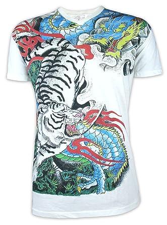 Ako Roshi Camiseta Hombre Tigre Dragón Japón Tatuaje: Amazon.es ...
