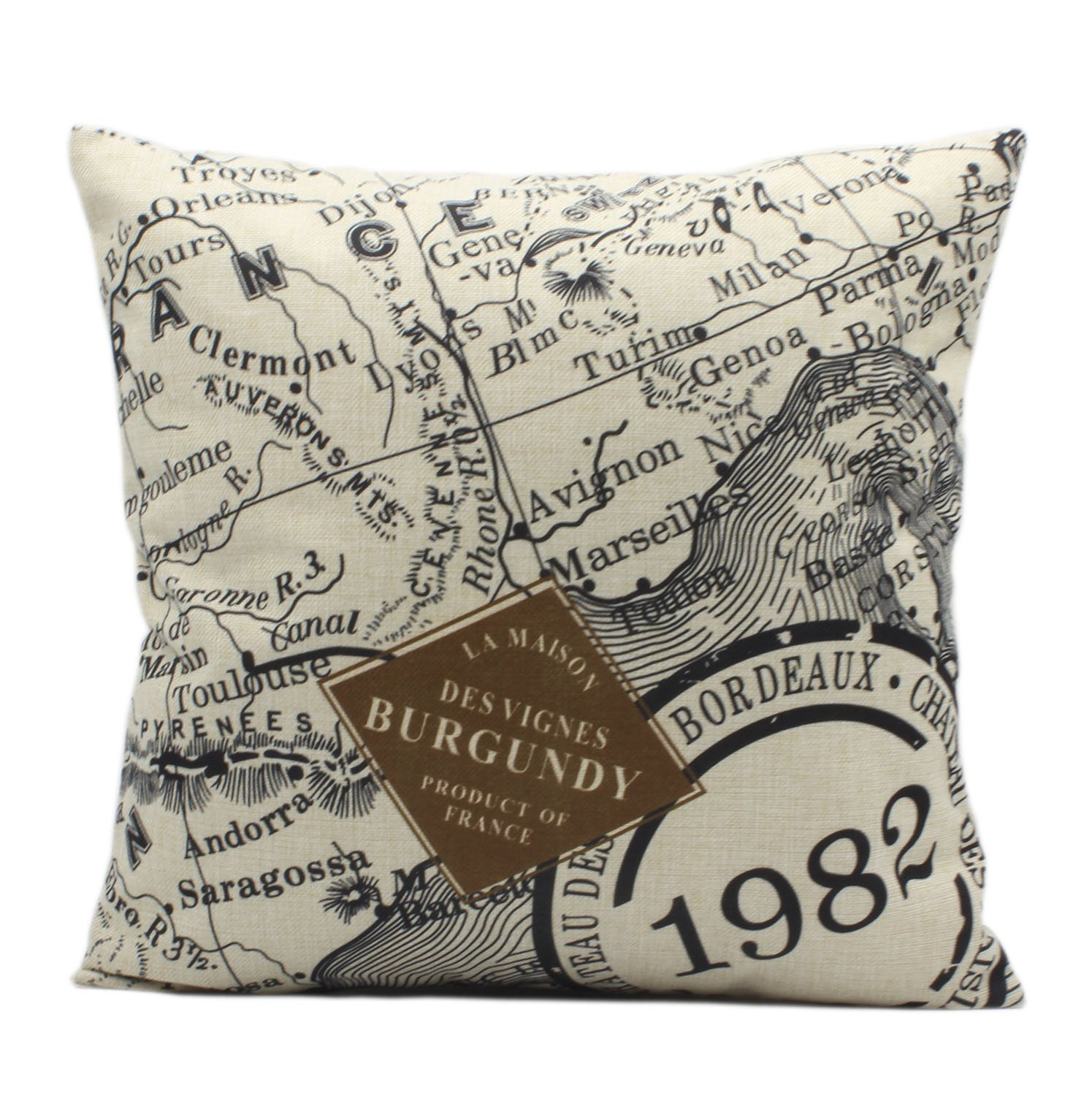 Jnroy Cotton Linen Decorative Square Throw Pillow Cases Covers Voyage With Zipper 18 Inches Only Pillow