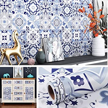 Buy Livelynine Backsplash Peel And Stick Wallpaper For Kitchen Self Adhesive Moroccan Tile Style Waterproof Wall Paper Decorations Removable Floral Blue 17 7x78 8 Inch Online At Low Prices In India Amazon In