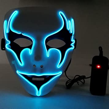 Amazon.com: Halloween Mask,Scary Light Up EL Wire Mask Cosplay ...