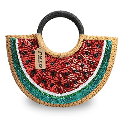 Amazon.com: Semicircular ratán paja bolsos, tela a mano ...