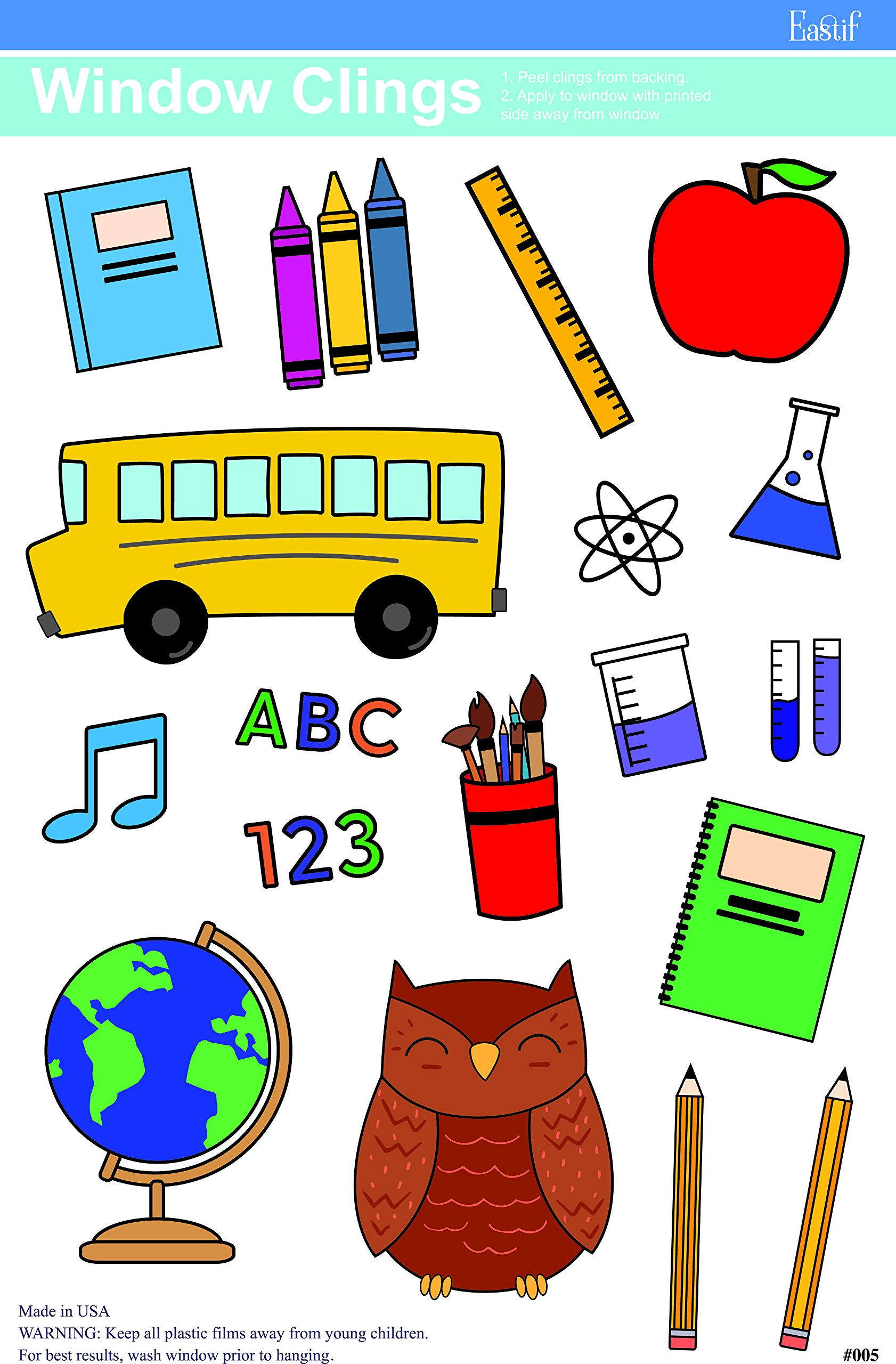 Eastif Back to School and ABC Classroom Window Clings, 2 Sheets by Eastif (Image #2)