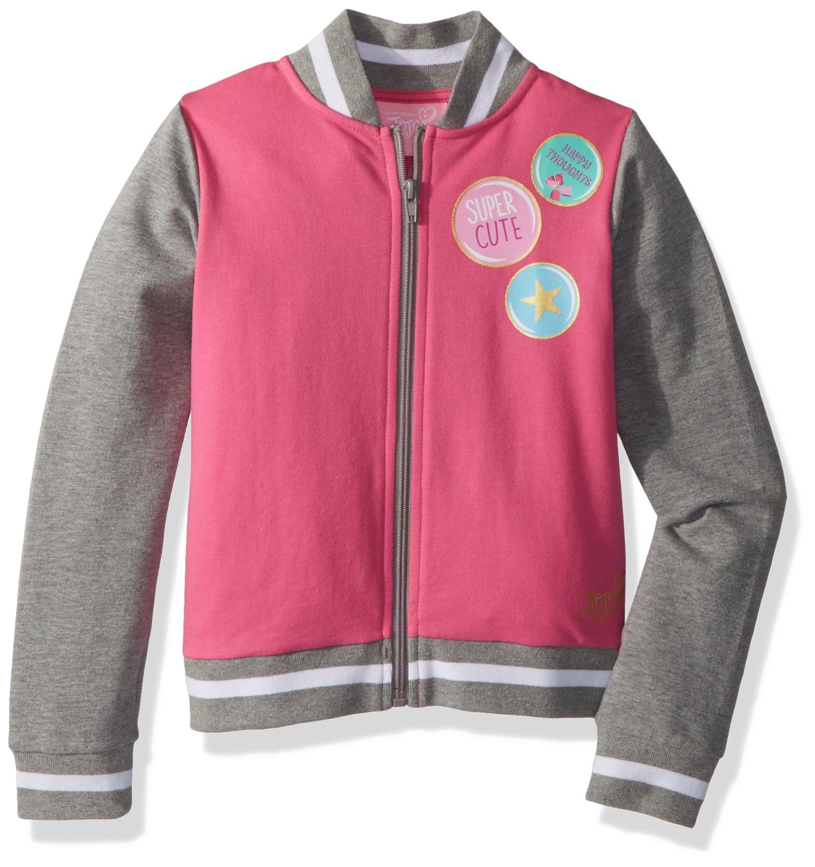 Jojo Siwa By Danskin Big Girls' Long Sleeve Jacket, Grey Heather/Pink, XS
