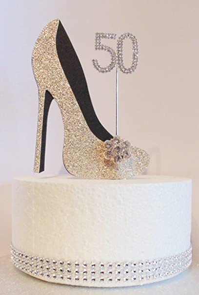 Image Unavailable Not Available For Colour 50th Birthday Cake Decoration Shoe Gold And Black