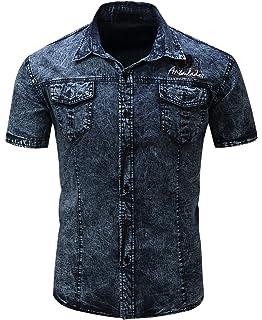 84821fd85dd chouyatou Men s Summer Short Sleeve Rugged Wear Chambray Cotton Denim Work  Shirts