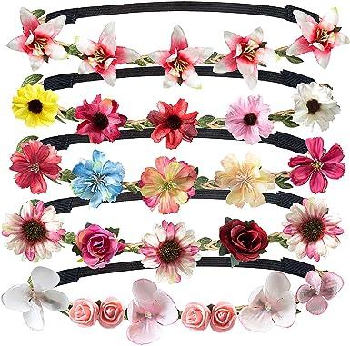 Lot de 2 Fleur élastiques à cheveux bande Bandeau
