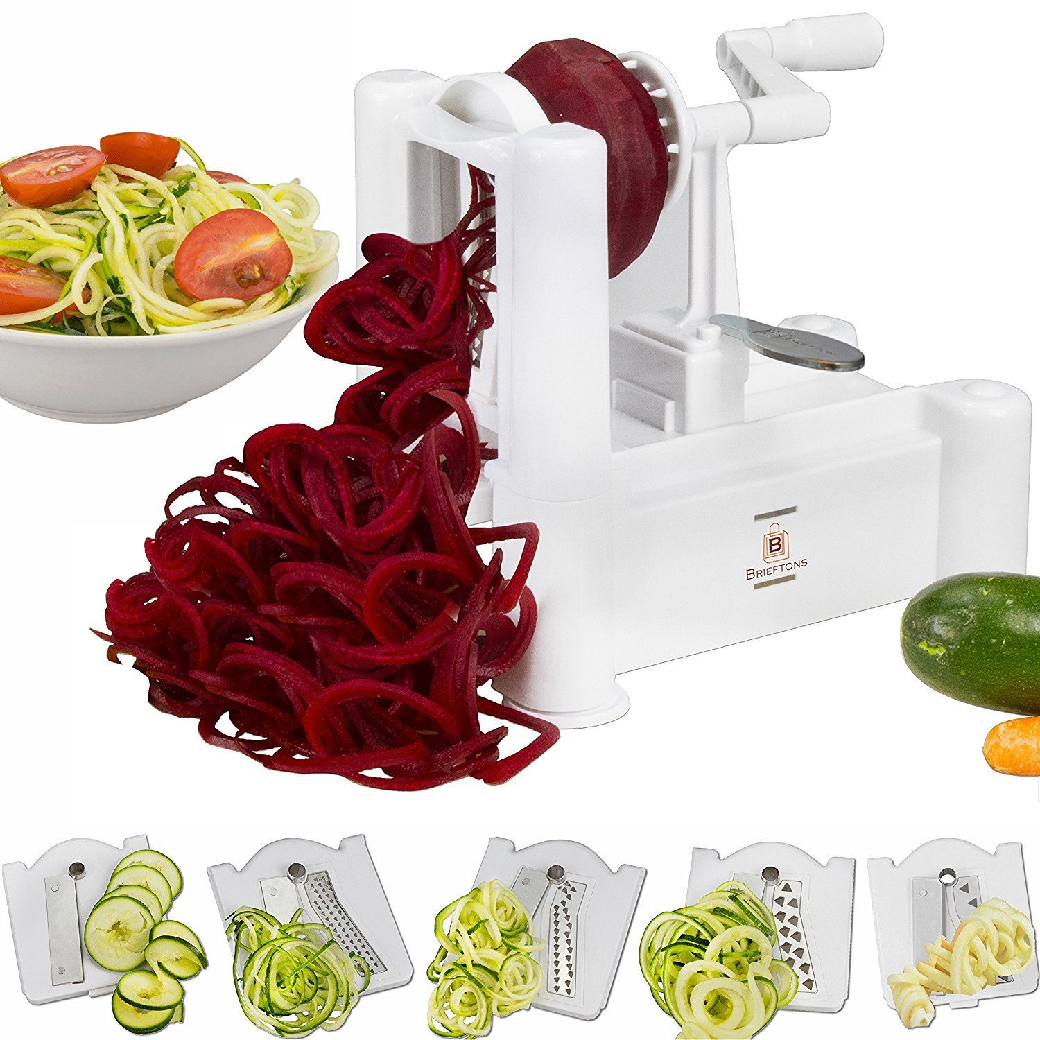 Brieftons 5-Blade Spiralizer: Strongest-and-Heaviest Duty Vegetable Spiral Slicer, Best Veggie Pasta Spaghetti Maker for Low Carb/Paleo/Gluten-Free Meals, With 3 Exclusive Recipe eBooks 820103271769