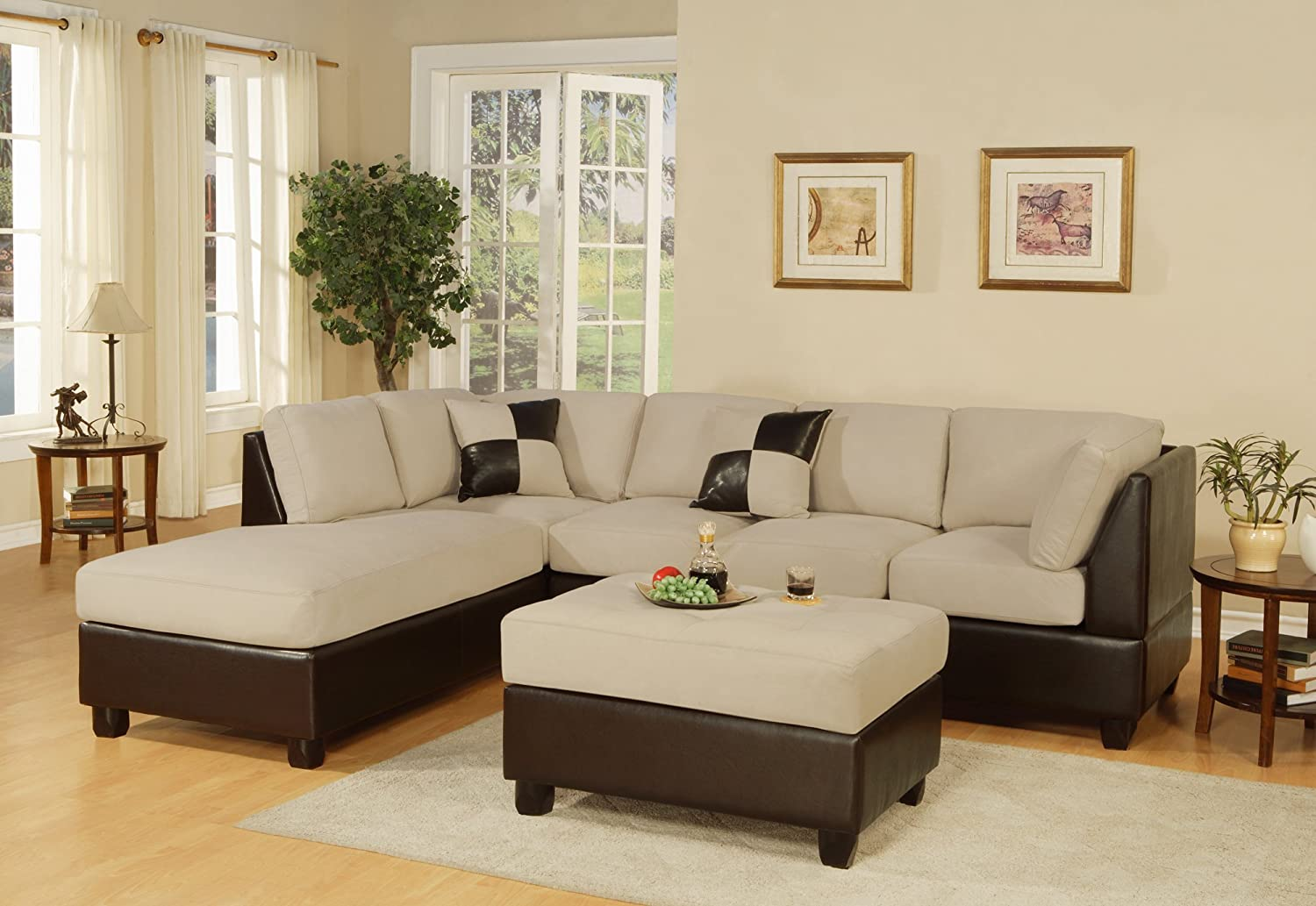 Amazon com  Bobkona Hungtinton Microfiber Faux Leather 3 Piece Sectional  Sofa Set  Mushroom  Kitchen   DiningAmazon com  Bobkona Hungtinton Microfiber Faux Leather 3 Piece  . Discount Living Rooms. Home Design Ideas