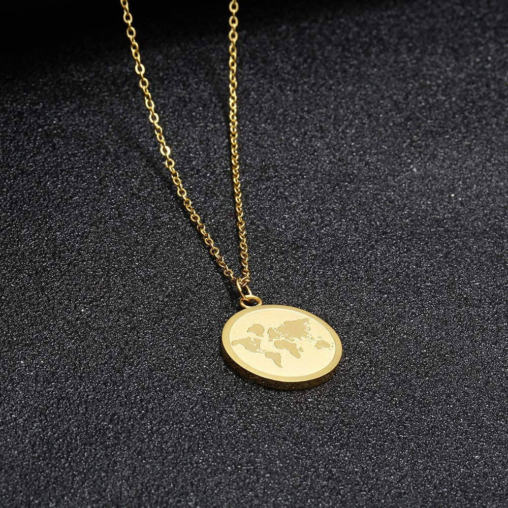 Stainless Steel Global Map World Necklace Pendant Earth Jewelry Gold Round Map Continent Necklaces For Men Women