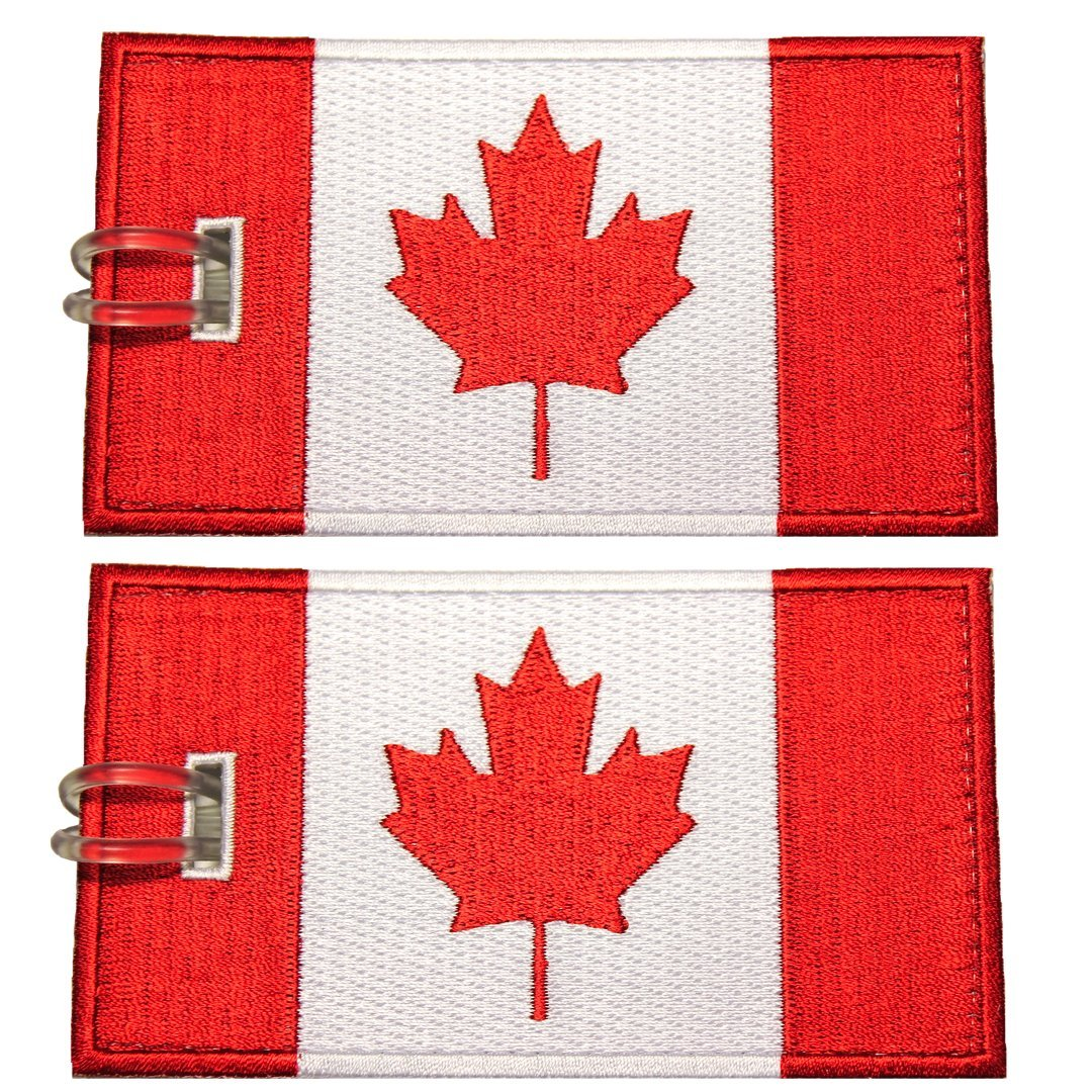 Luggage Tags, Canadian Flag, Embroidered, 2 Pack, 14 COLORS, NEVER BREAK! product image