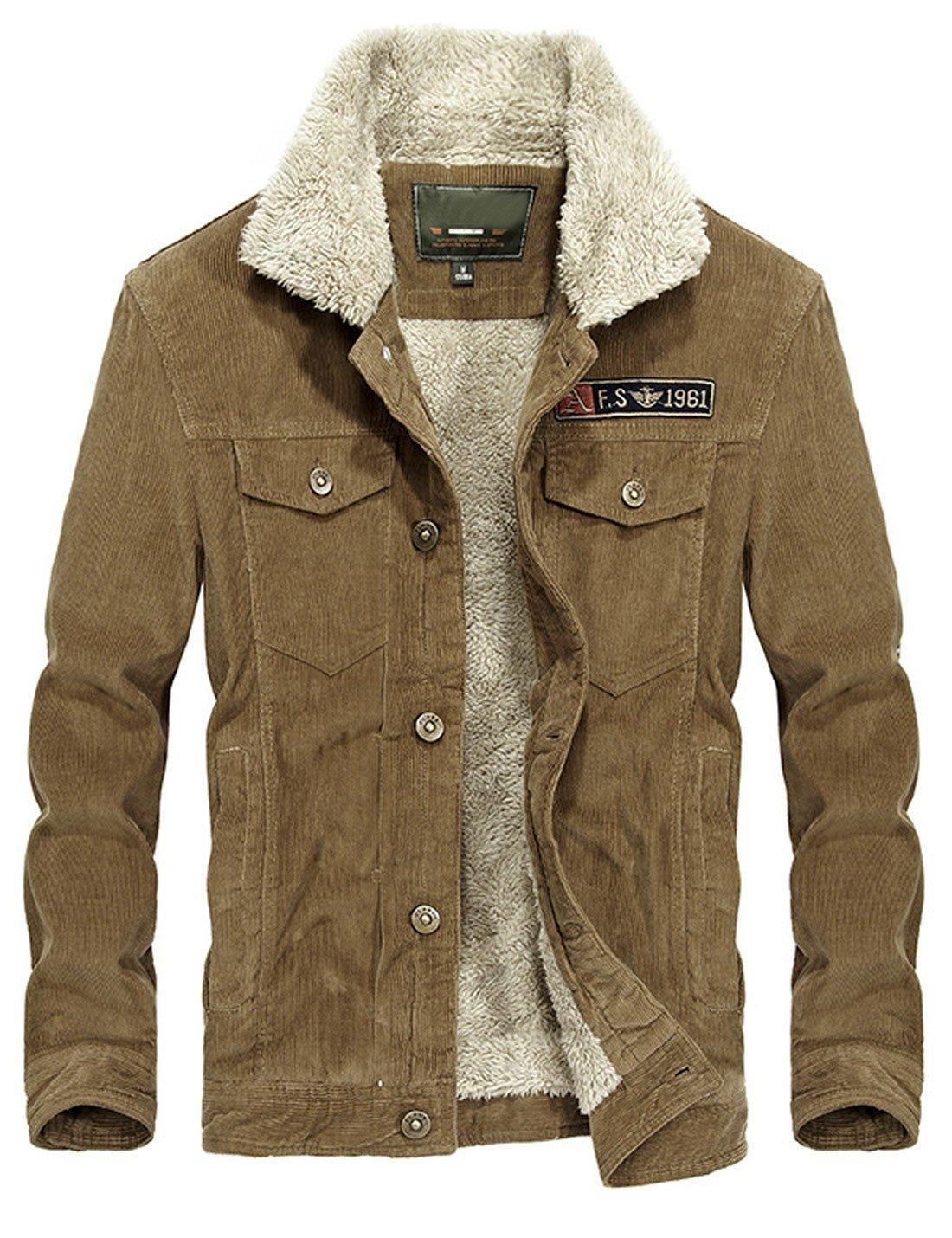 Yeokou Men's Vintage Slim Sherpa Lined Shearling Corduroy Trucker Jacket Khaki by Yeokou