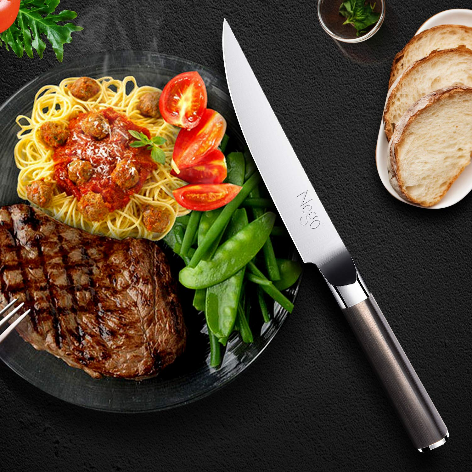 Steak Knives - 6Piece Steak Knife Set, 4.5 Inch Edge Blade Pointed Tip Table Knife German HC Stainless Steel Razor Sharpness Rust Protection Lightweight Neatly Slicing Classic Kitchen Cutlery by Nego (Image #2)