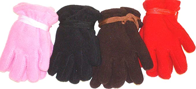 Set of Four Pairs Mongolian Fleece Gloves for Toddlers Ages 2-4 Years