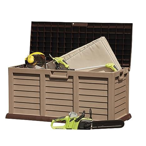 Caja de almacenamiento de plástico para jardín, contenedor baúl, resistente a la intemperie con