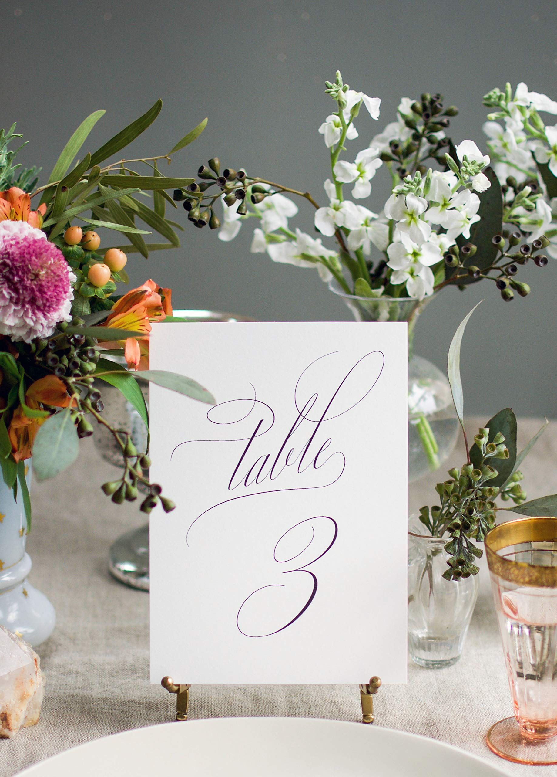 Weekend Paper Co. Classic Black Wedding Table Numbers, Double Sided 5x7 Calligraphy Design, Numbers 1-25
