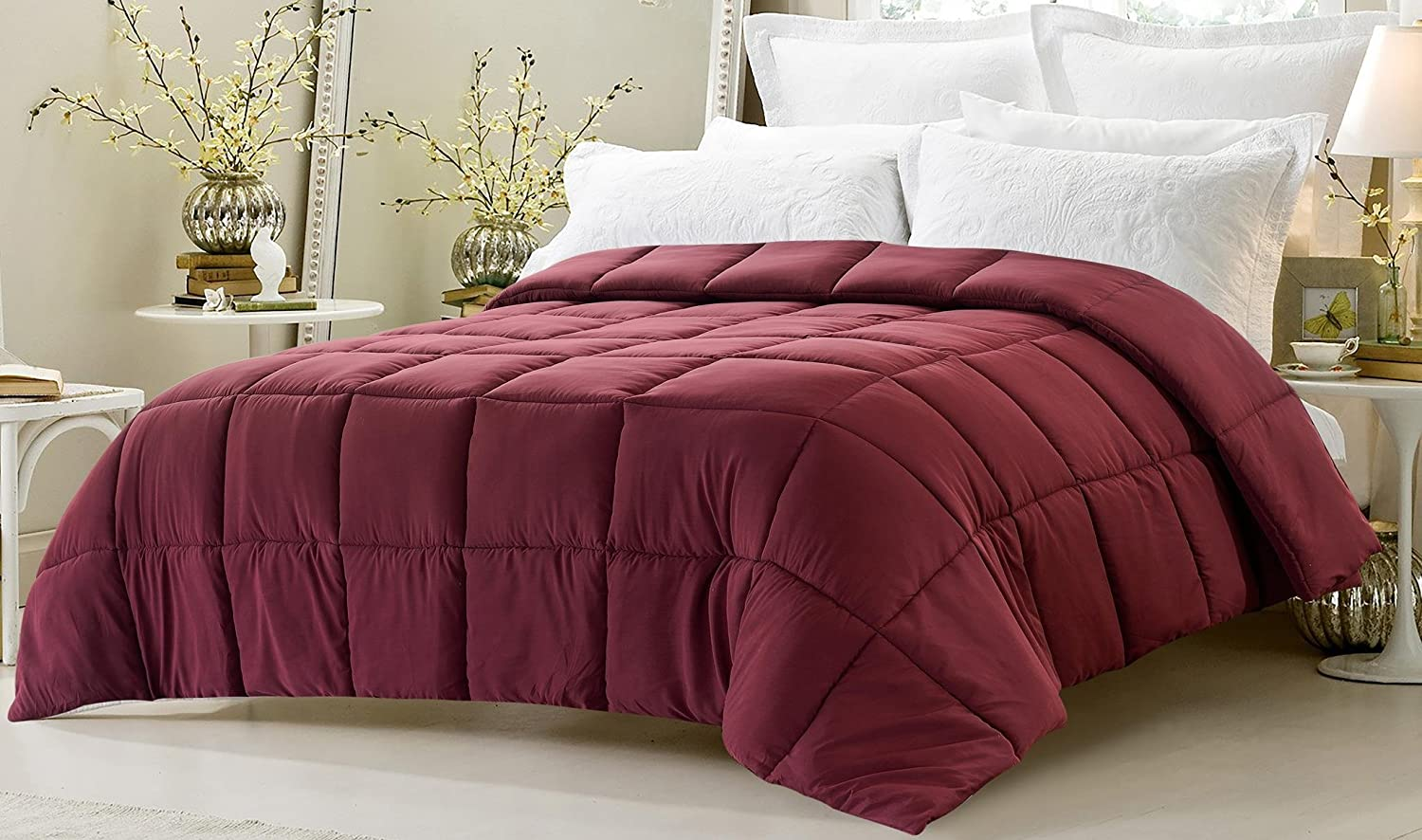 Super Oversized - Down Alternative Comforter - Fits Pillow Top Beds - Queen Burgundy