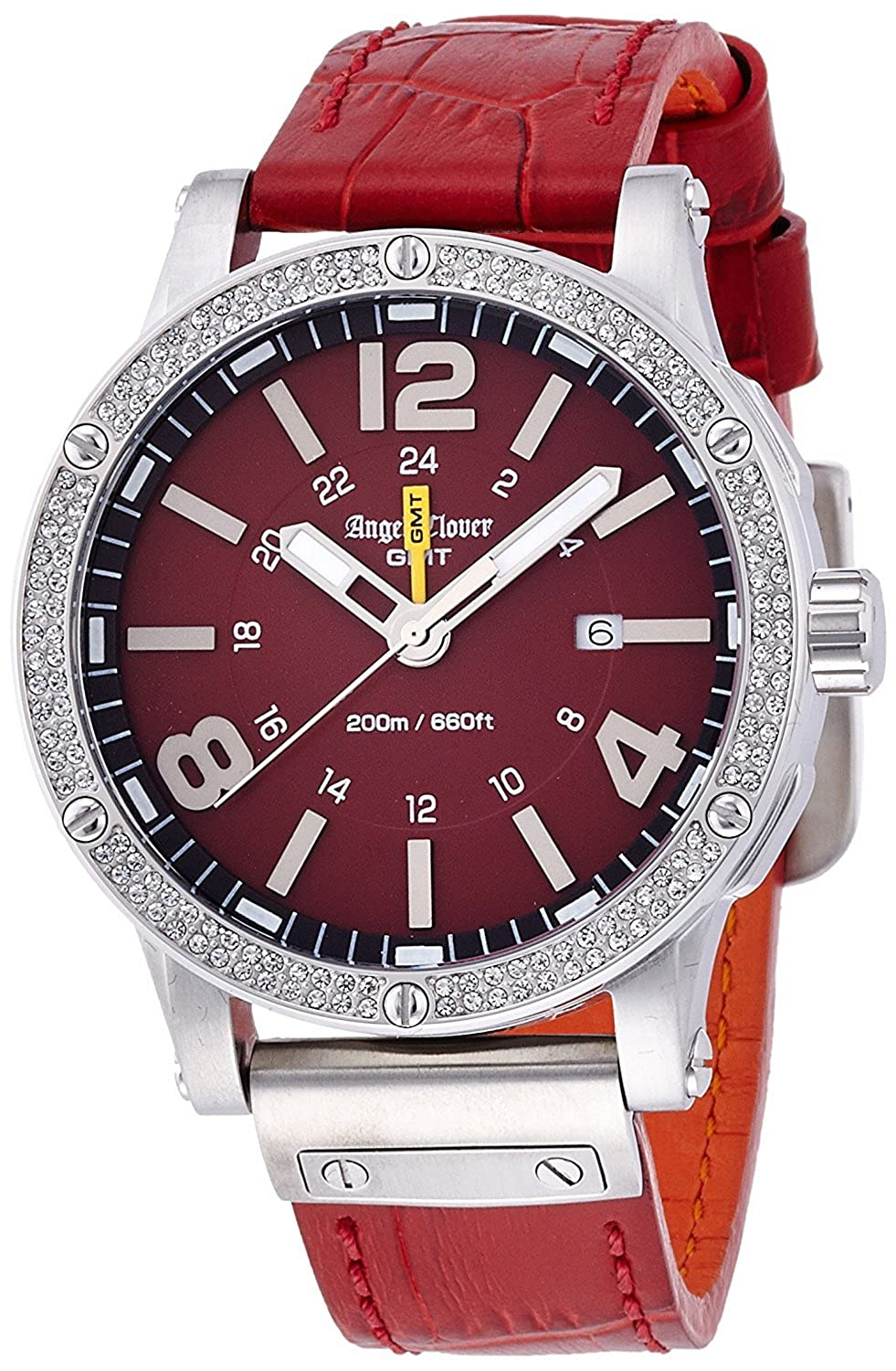Amazon.com: Angel Clover watch Aix venture red dial 500 limited edition Swarovski 200m waterproof Date EVG46SRE-LIMITED Mens: Watches