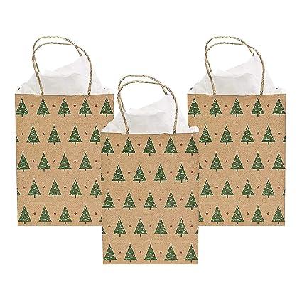 096991dd8e1e Amazon.com  Christmas Tree Kraft Gift Bags- 12 Pack - 9 Inch Medium  Health    Personal Care