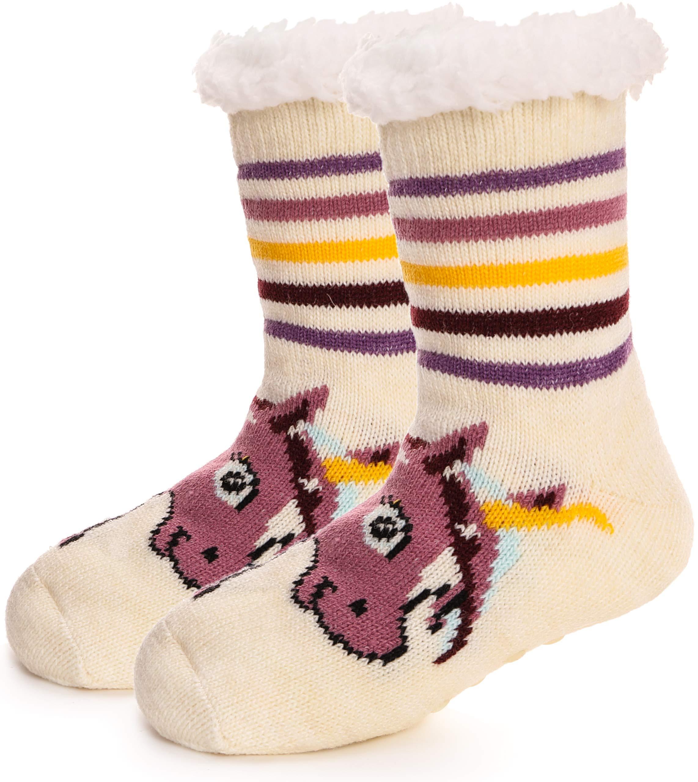 RONGBLUE Kids Boys Girls Christmas Fuzzy Slipper Socks Cute Animal Super Soft Warm Sherpa lining Non Skid Winter Socks