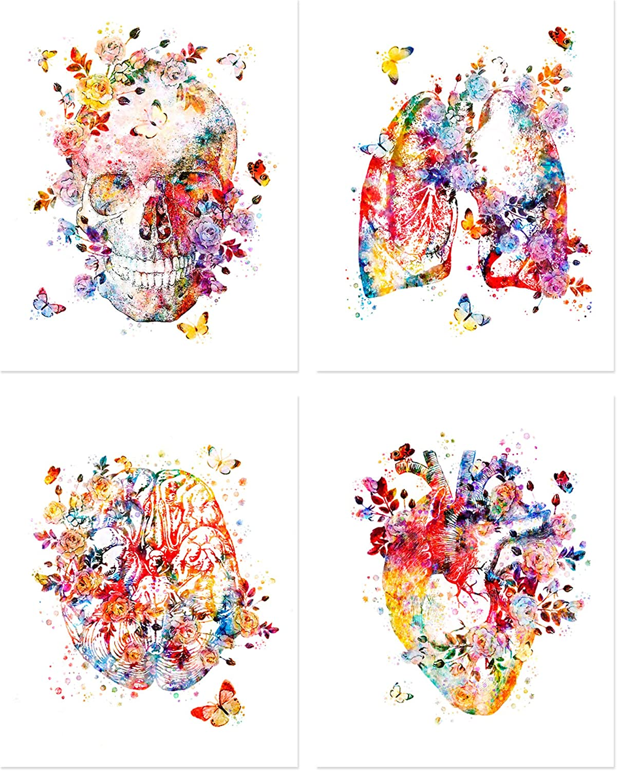 Flower Organs Wall Art - Set of Four Matte (8x10 inches) Floral Anatomy Posters - Lungs - Skull - Brain - Heart - Retro Wall Decor for Doctors Office, Clinic, Med Student Dorm - Nurses, Physicians