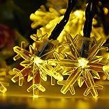 Luci Della Stringa Solare all'aperto di Fiocco di Neve,Isightguard 5M/16.4FT 30 LED 2 Modalità Fata Luci Luci di Natale Impermeabile per Giardino Esterno Patio,Natale,Vacanza (Bianco caldo)