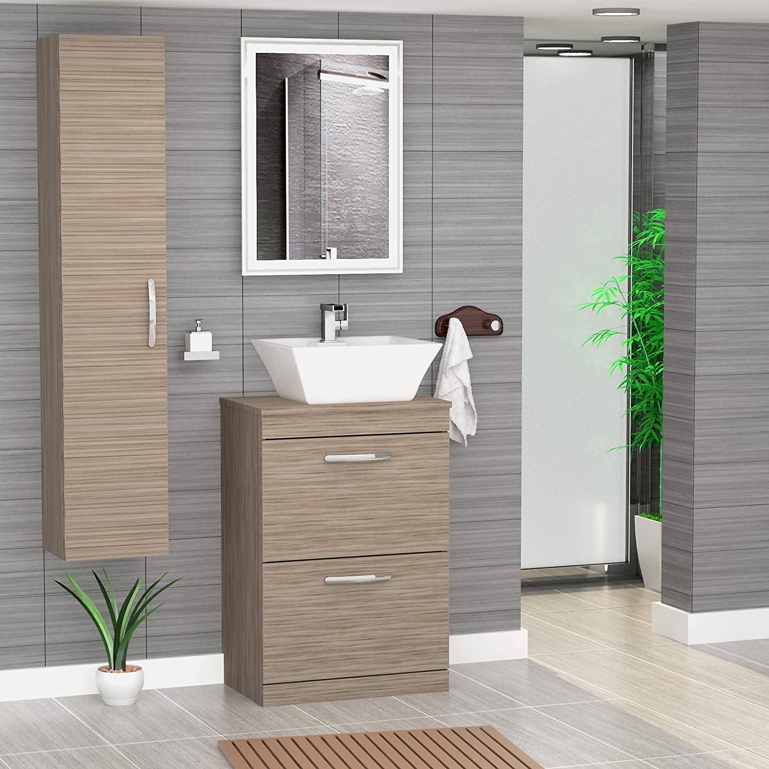 Premier athena 600mm driftwood 2 drawer floor standing worktop vanity unit with 480mm square basin amazon co uk kitchen home
