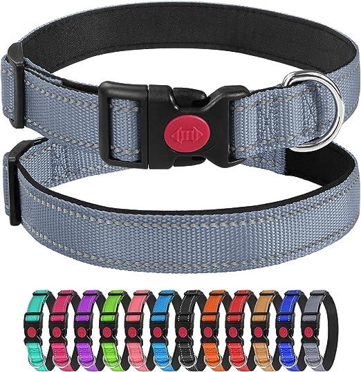 Joytale Reflective Dog Collar with Safety Locking Buckle,12 Colors,Soft Comfortable Neoprene Padding,Adjustable Nylon Collars for Small Medium Large Dogs